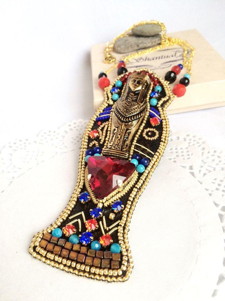 Купить Колье Тутанхамон - египет, египетский стиль, египетский, фараон, кулон, колье, крупное украшение