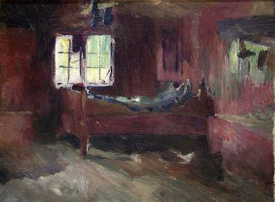 Interiør fra bondestue, Strålsjøhaugen by Harriet Backer, 1893