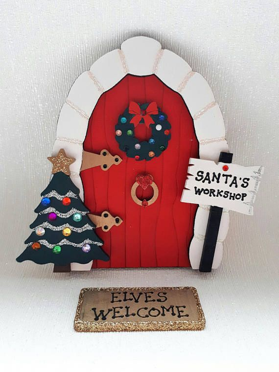 Santa Fairy Door. Wooden Santa's Workshop Doorway to the North Pole. Christmas room decoration for children. Xmas room decor. Kids Play room