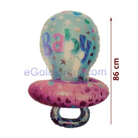 GLOBO con forma de chupete de bebé de 86cm de alto y 55 cm de ancho aprox. Es perfecto para decorar un baby shower de niña o de niño o la fiesta de bienvenida del bebé.  Los globos se venden sin inflar y para que se floten en el aire deberán rellenarse con helio.