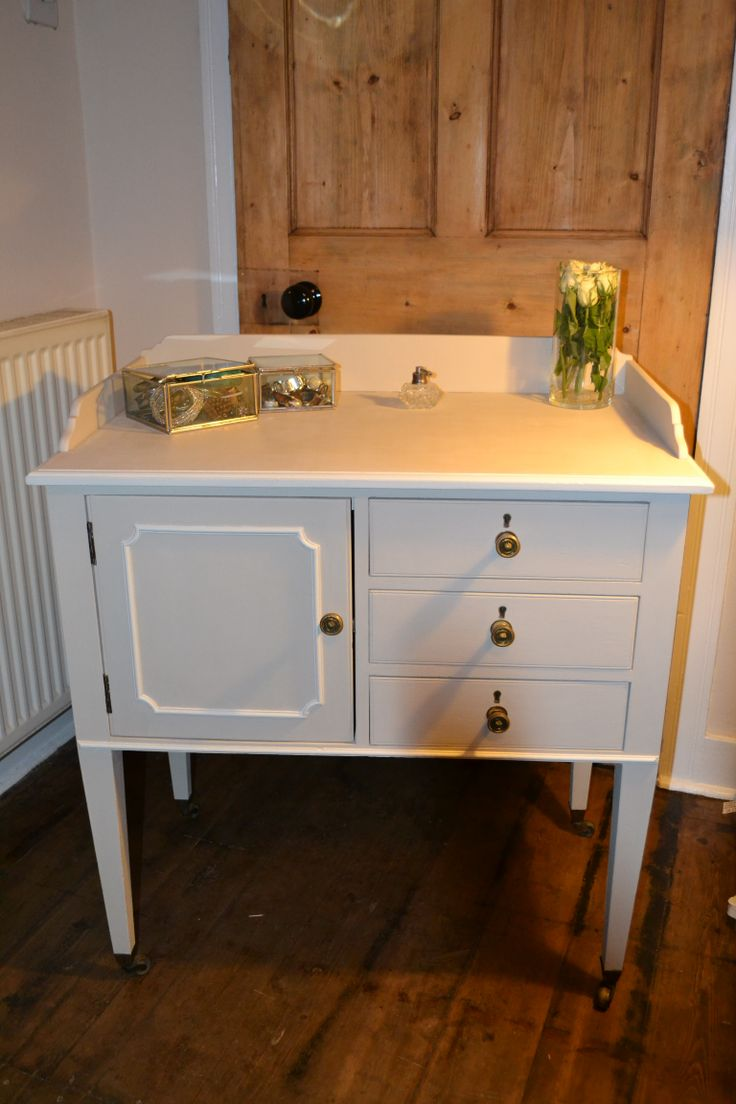 Vintage vanity bathroom unit on wheels - reloved using 'almond' and 'chalk grey' Autentico chalk paint and finished with Autentico clear wax. Simply beautiful!