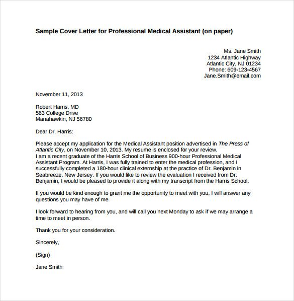 Professional Letter Medical Assistant Cover Letter Cover Letter Template Free Professional Cover Letter