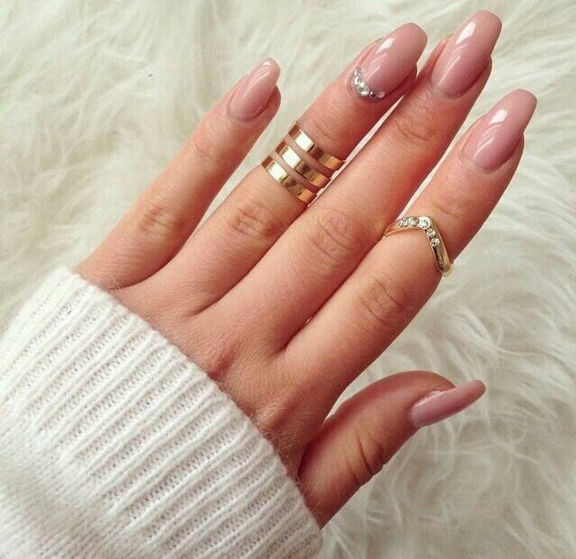 Beige nail art, Beige nails by gel polish, Beige nails with rhinestones, Beyonce nails, Easy nail designs, Ideas of plain nails, Insanely beautiful nails, Light spring nails