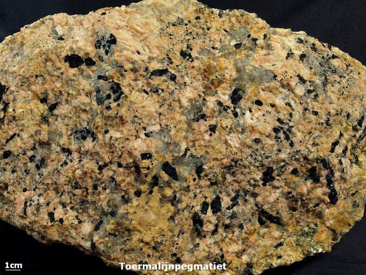 Toermalijnpegmatiet - Zwerfsteen van Norg (Dr.) De zwarte vlekken in het gesteente zijn van toermalijn. Deze zwarte vorm wordt wel 'Schorl' genoemd.