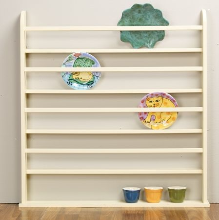 large wall mounted plate rack perfect for serving platters and decorative plates creamy yellow. Black Bedroom Furniture Sets. Home Design Ideas