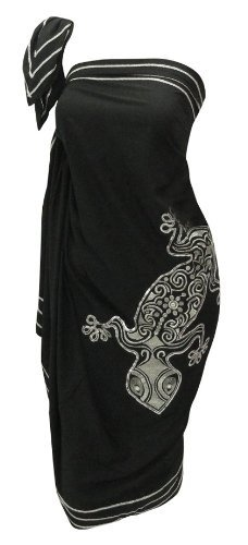 Amazon.com: La Leela Designer Chain Stitched Embroidered Black Beach Hawaiian Swim Sarong Pareo Wrap: Clothing