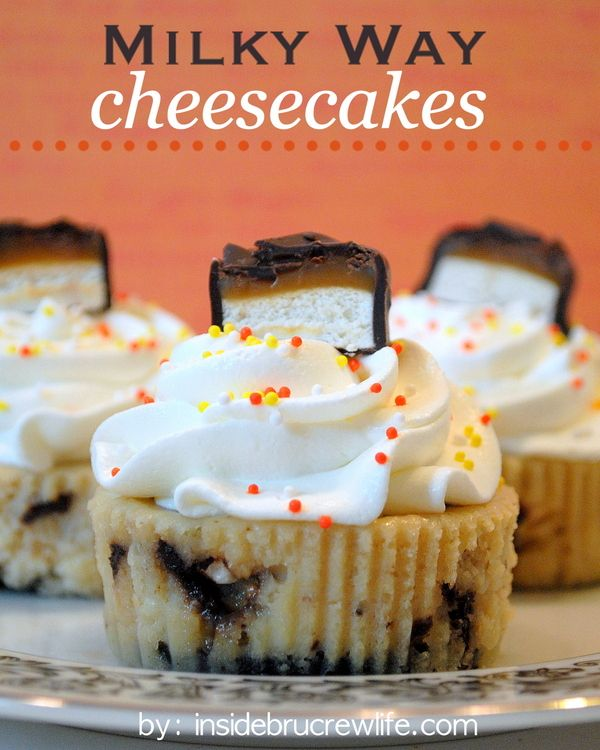 Milky Way Cheesecakes - easy caramel cheesecakes filled with Milky Way candy bar chunks
