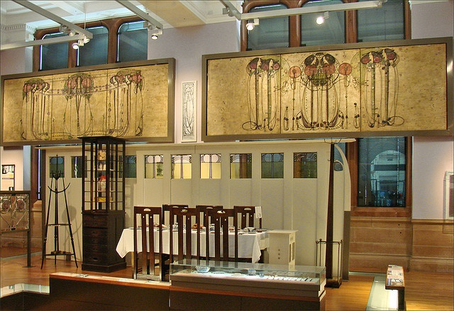 Charles Rennie Macintosh display at Kelvingrove, Glasgow. A lot of his stuff was destroyed because Glaswegian officials didn't recognize his importance.