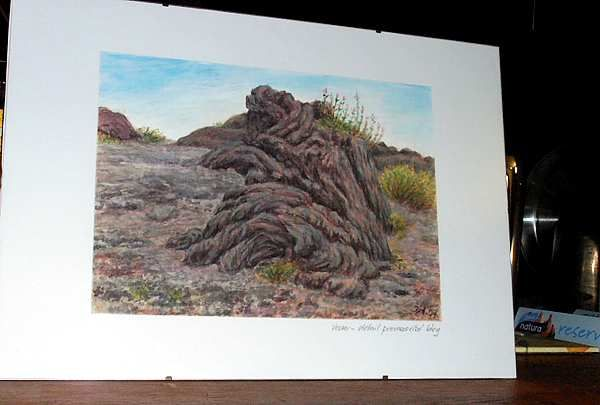 Vesuvius - lava pahoehoe, watercolor and pastel by Jana Haasová