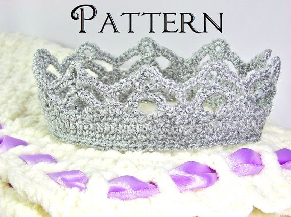 Crochet PATTERN Crown for Girl  All Ages  Tutorial di TheLilliePad, $2.99
