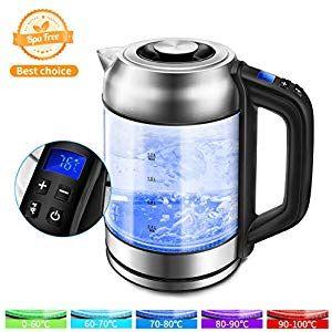 Morpilot Glas Wasserkocher Edelstahl1.7 Liter Elektrischer Wasserkessel mit LED …