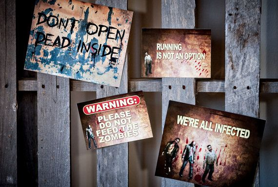 Zombie Party Decorations for Halloween Party Ideas Zombie Apocalypse Printable by HelloMySweet