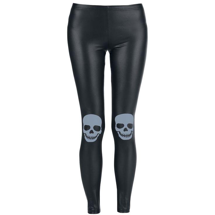 Leggings neri in similpelle della collezione Full Volume by EMP con teschio grigio stampato sulle ginocchia.