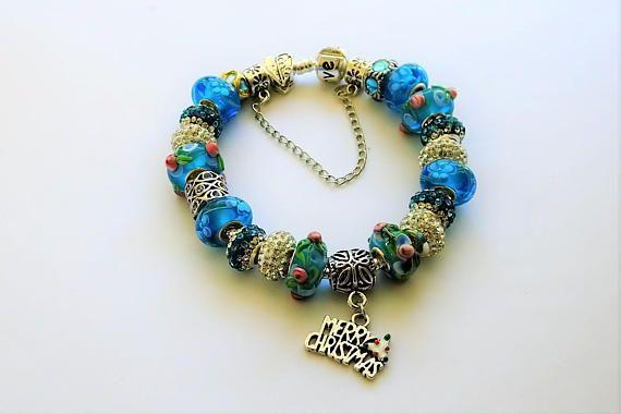 Blue Merry Christmas HOLIDAY Charm Bracelet European Silver