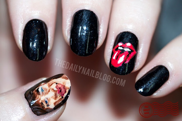 I Can't Get No... Satisfaction?      My nail art to commemorate the Rolling Stones' 50th anniversary!Daily Nails, Nails Rolls, Nails Design, Rolls Nails, Stones Nails Art, The Rolls Stones, Nails Artists, The Rolling Stones, Nail Art