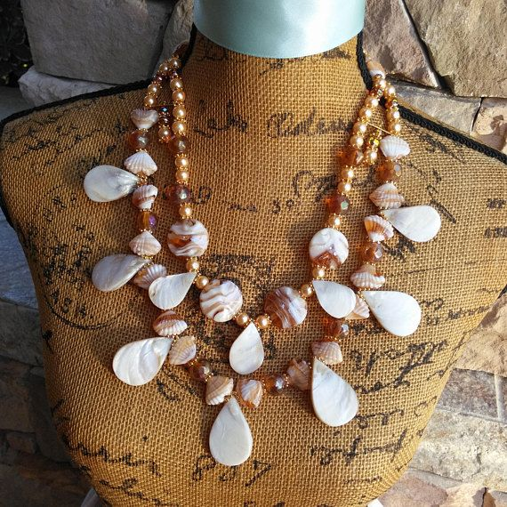 Please Pin if you like this new design!   Add this Beauty to your Spring LOOK!   Check out my 20% OFF Sale!!!! Use Code: 20OFF  Murano Glass and Shell Bead Multi-Strand Statement Necklace!!! Resort Wear Jewelry, Cruise Wear, Summer Statement Necklace, Beach Jewelry