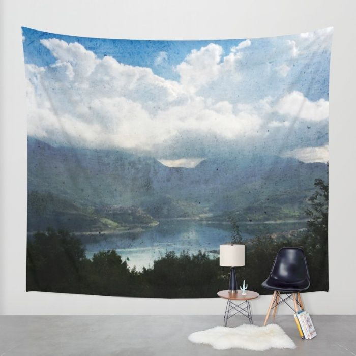 Lake between the Mountains Wall Tapestry by Psychae | Society6