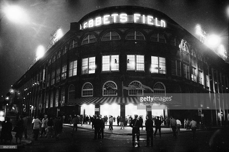 Exterior view of Ebbets Field before Brooklyn Dodgers vs Pittsburgh Pirates game. Final game at Ebbets Field before move to Los Angeles. Brooklyn, NY 9/24/1957
