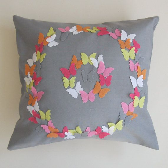 Neon Butterfly Grey Cotton Cushion by lynseylovesxxx / Coudre des papillons en feutrine multicolores sur un & 108 best Sewing: Pillows \u0026 cushions patterns \u0026 ideas images on ... pillowsntoast.com