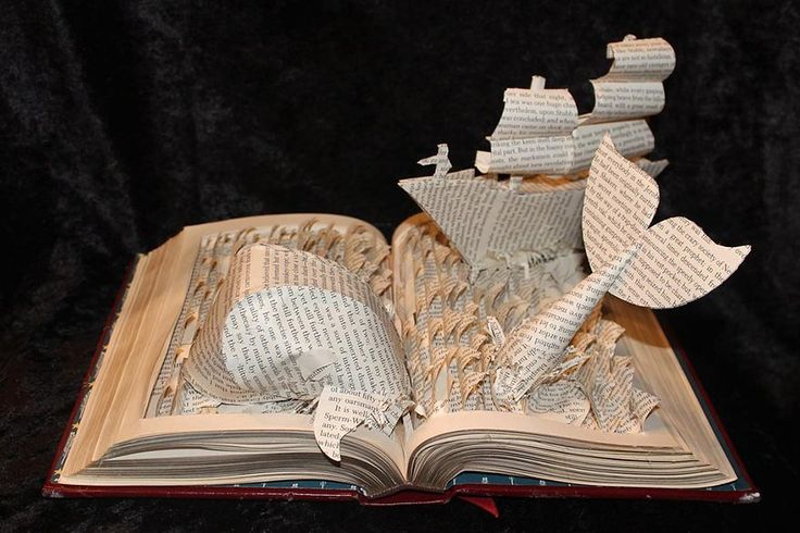 Do you have an old tattered copy of Moby Dick laying around?  Well then, take a cue from Jodi Harvey-Brown and turn that book into a fantastic paper sculpture!