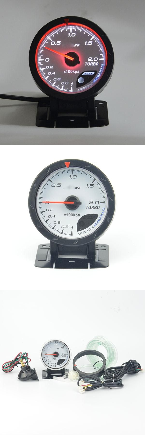 [Visit to Buy] 60MM White face Boost gauge Red & White Lighting 1-2 kpa/Turbo Boost Pressure Reading Car Meter With Sensor/Auto Gauge #Advertisement
