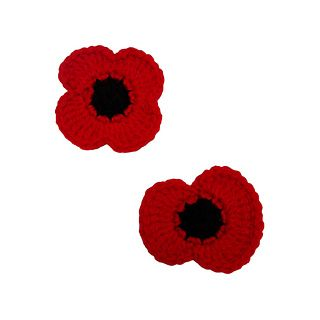 Crochet Remembrance Poppy by McAree Brothers - Free pattern with 2 or 4 petals designed by Sarah Kim. UK terms.