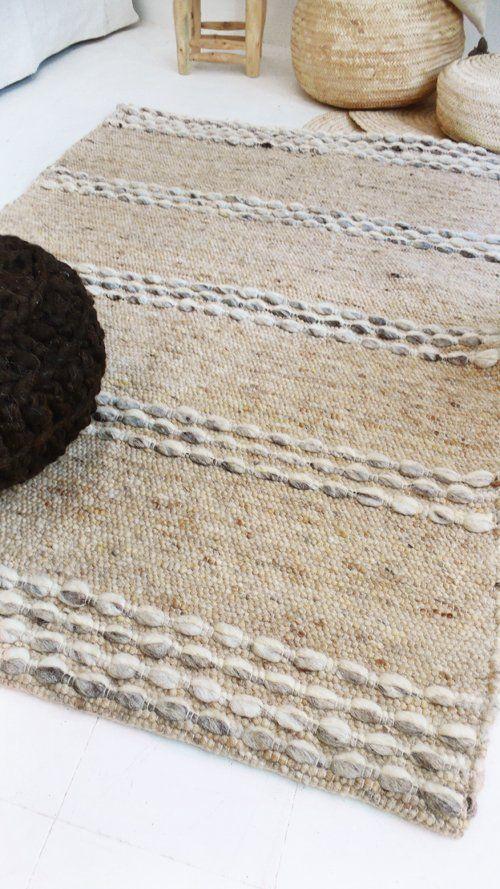 Image of Handwoven Wool Rug Beige-Brown