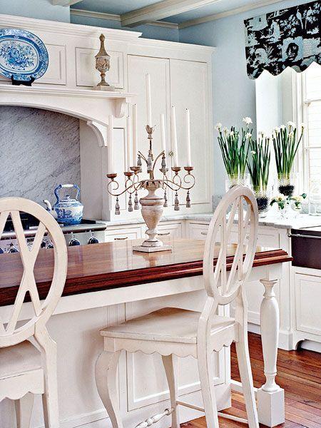 cool kitchen: Blue Accent, Butcher Blocks, White Home, Islands Tops, Blocks Islands, Bar Stools, Counter Stools, Blue And White, White Kitchens