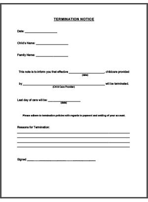 Termination Notice Printable for Child Care: Daycare Forms Business ...