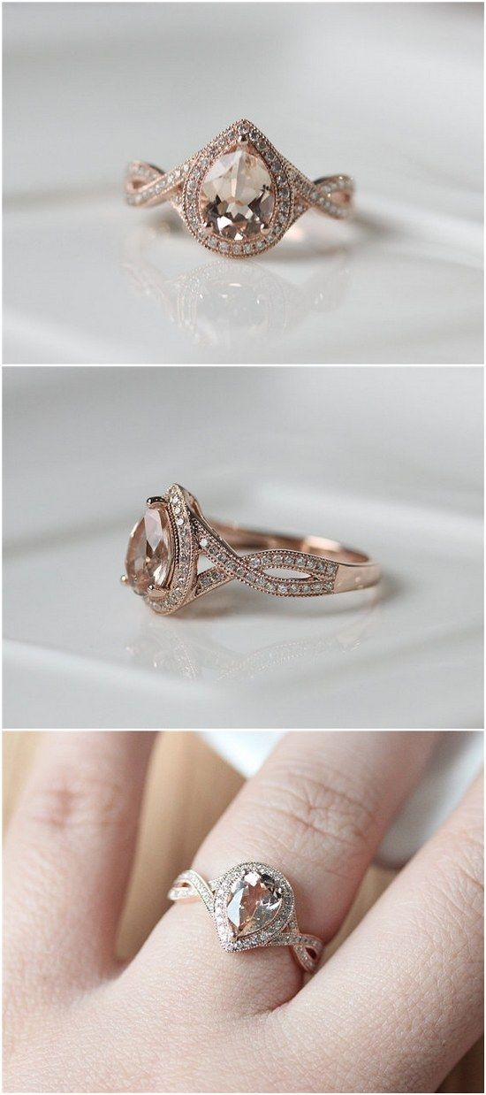 Pear Cut Morganite Rose Gold Engagement Ring / http://www.deerpearlflowers.com/inexpensive-engagement-rings-under-1000/2/