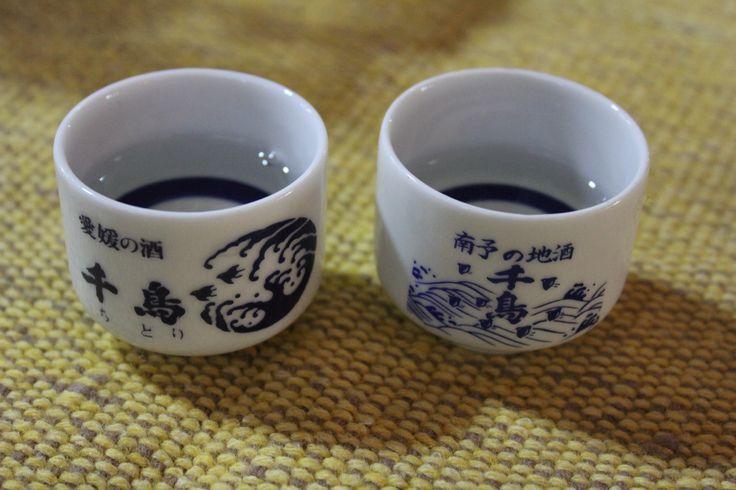 Tasting cups from the Chidori sake brand.