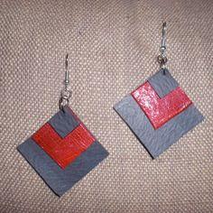 Boucle d'oreille en chambre à air et cuir rouge