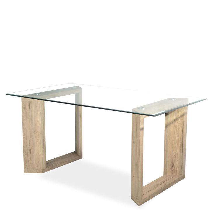 La superficie du verre mesure 1 cm d'épaisseur. Les pieds sont fabriqués en MDF, et sont recouverts de papier imitant les veines naturelles du bois de chêne. La distance entre les pieds est de 101 cm.
