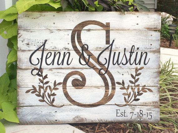 This sign is painted on reclaimed wood and measures approximately 20 tall by 26 wide. Last name initial is a dark walnut stain, background is