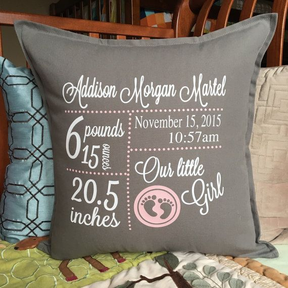 Birth Announcement Pillow Cover – Baby Gift – Birth Stats Pillow – Baby Name Pillow – Personalized Pillow – Baby decor – Baby Shower Gift – Personalize My World Boutique
