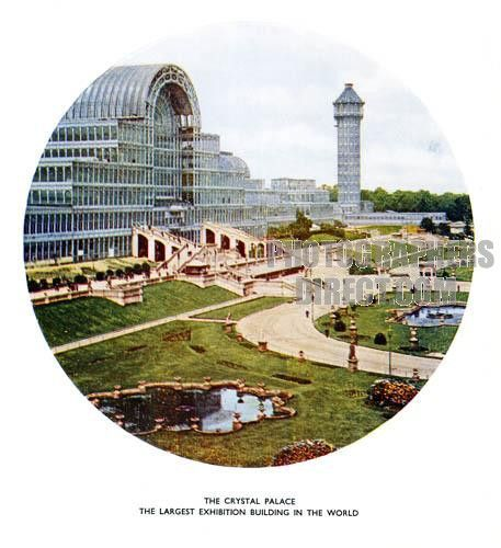 The Crystal Palace , 1936 colour photograph of the Great Exhibition building just before it was burned down stock photo