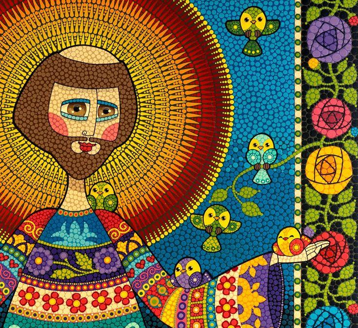 Técnica: Mosaico de Tinta Tamanho: 100 x 100 cm   Tinta plástica sobre madeira com acabamento em verniz marítimo fosco