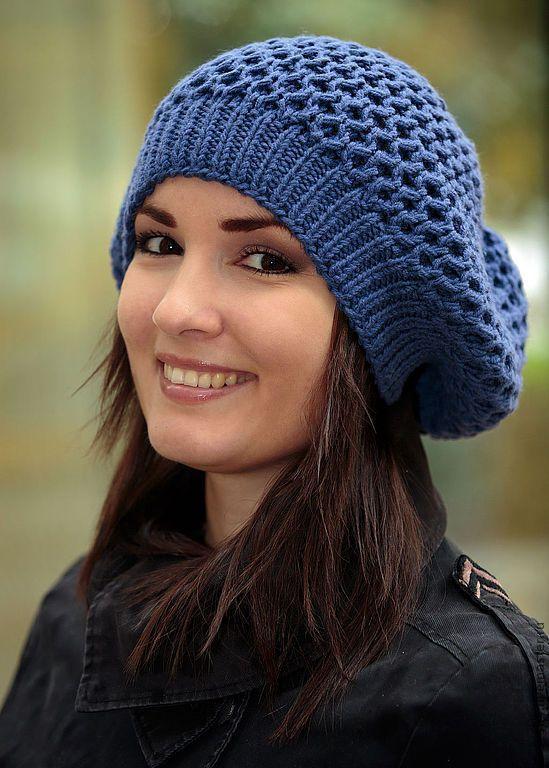 Купить Шапка женская модная вязаная синяя (голубой, васильковый, аквамарин) - берет, женская шапка