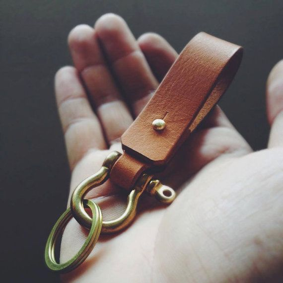 Handmade Leather keychain with shackle brass Belt Keychain