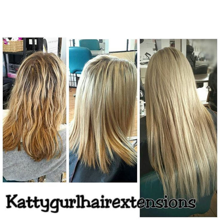 "Lovin this pretty install of one our 100gm Clipin sets  an 80gm Quadra weft in 20"" #kattygurlhairextensions #blondehair #clipins"