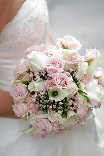 Beautiful soft pink and white bridal bouquet, great wedding flowers. At The Touch Of Love