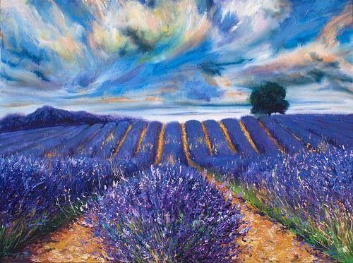Vincent van Gogh: title unknown [Fields of lavender, perhaps in France.] medium: oil on canvas? School: Impressionism, en plein air.