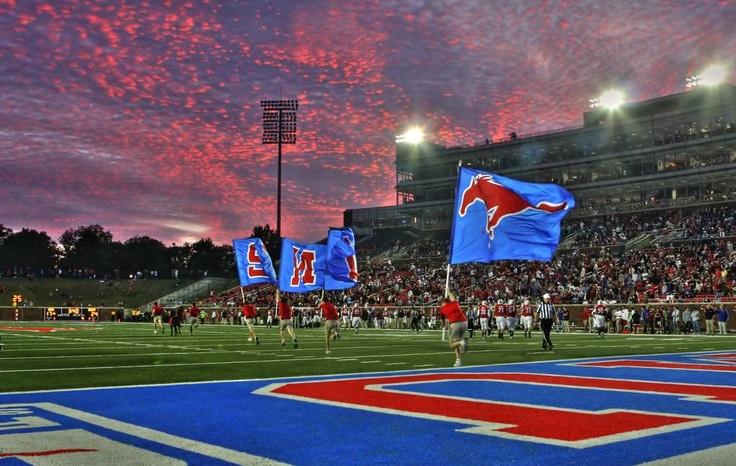 SMU Southern Methodist University Mustangs - flags at night at Gerald J Ford Stadium