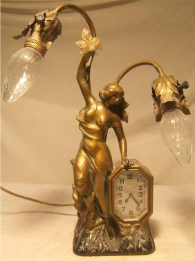 Schadow & Son New York Art Nouveau Clock Lamp : Lot 1037