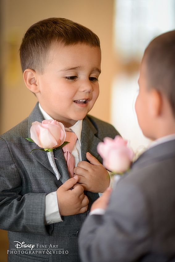 This little guy is getting ready for his big moment at a Disney's Fairy Tale Wedding