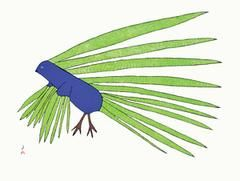 Green Feathers. Kabul Saggiattok.Cape Dorset Inuit Print
