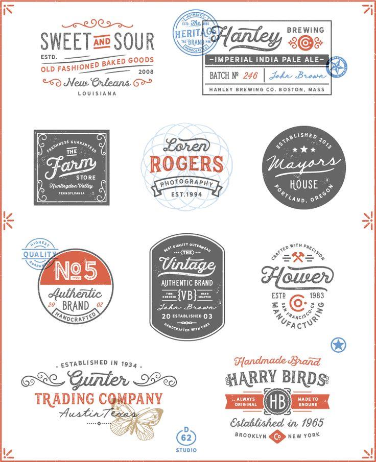 D62 Bonus Logos from  Hanley Rough Font Collection. #logo #script #vintage #retro #letterpress