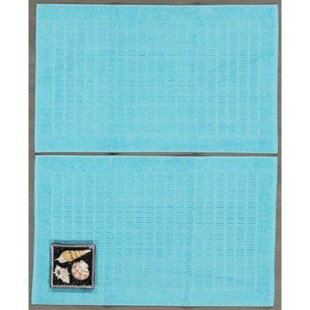 Ottomanson Heavyweight Cotton Towel Bath Tub Mat 2-Piece Set, 20 inch x 31 inch, Turkish Cotton, Blue