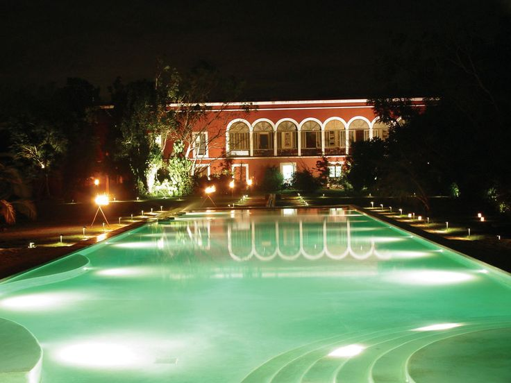 Yucatan, Abala, Hotel Hacienda Temozon, Pool at Night - Photo by The Haciendas