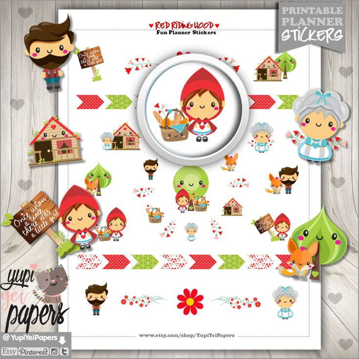 50%OFF - Red Riding Hood Stickers, Planner Stickers, Use in Erin Condren, Planner Accessories, Printable Stickers, Tale Stickers